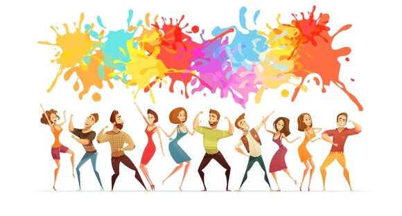 dancing-people-banner-colored-cartoon-banner-vector